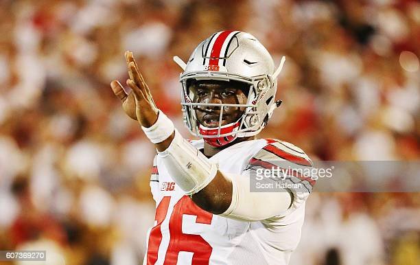 T Barrett of the Ohio State Buckeyes waits for a play on the field in the first half of their game against the Oklahoma Sooners at Gaylord Family...