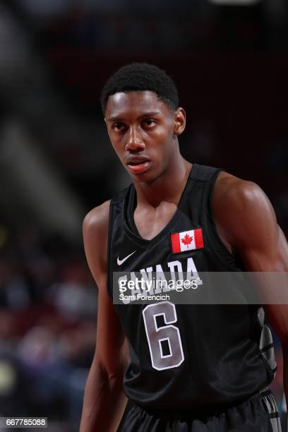 J Barrett of the World Select Team look on against the USA Junior Select Team during the game on April 7 2017 at the MODA Center Arena in Portland...