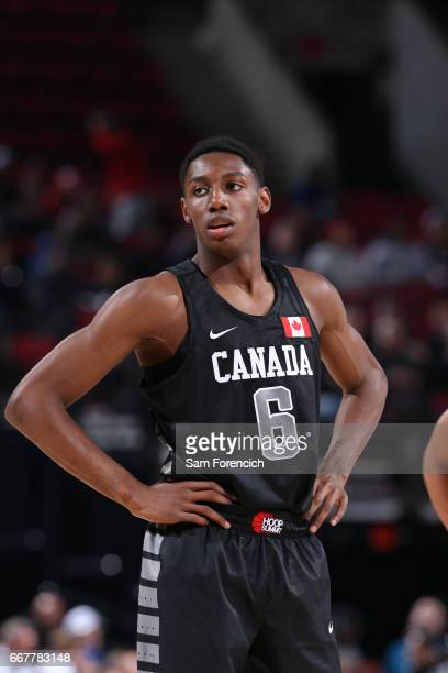 J Barrett of the World Select Team looks on against the USA Junior Select Team during the game on April 7 2017 at the MODA Center Arena in Portland...