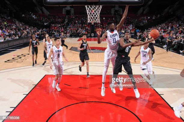 J Barrett of the World Select Team shoots against the USA Junior Select Team during the game on April 7 2017 at the MODA Center Arena in Portland...