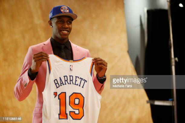 Barrett poses for a photo after being selected third overall by the New York Knicks during the 2019 NBA Draft on June 20 2019 at the Barclays Center...