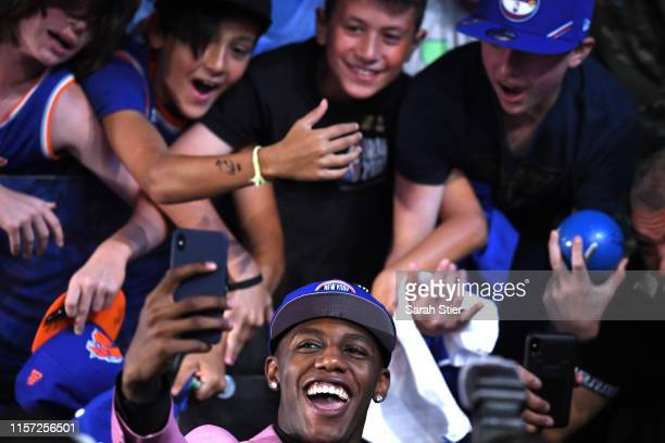 Barrett reacts with fans after being drafted with the third overall pick by the New York Knicks during the 2019 NBA Draft at the Barclays Center on...