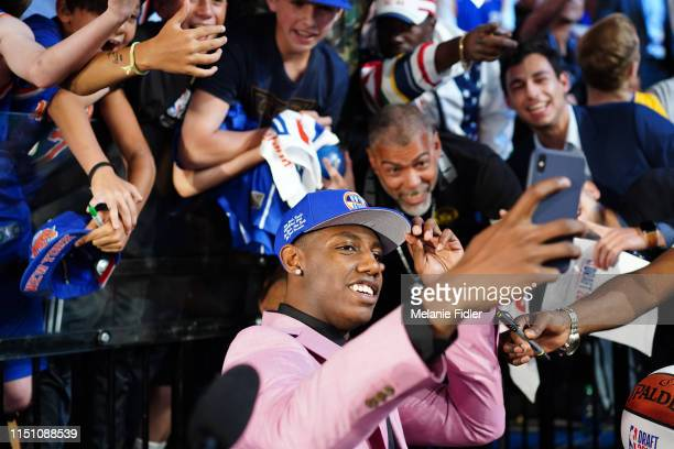 Barrett takes a selfie with fans after being selected third overall by the New York Knicks during the 2019 NBA Draft on June 20 2019 at the Barclays...