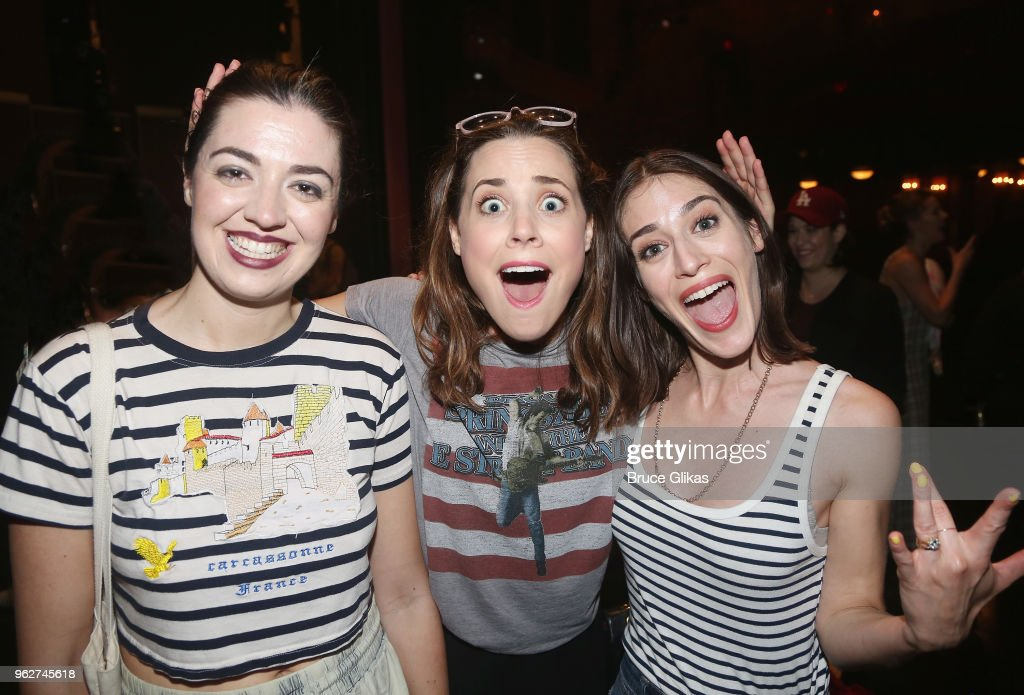Barrett Wilbert Weed, Erika Henningsen and Lizzy Caplan pose backstage at the hit musical based on the film 'Mean Girls' on Broadway at The August Wilson Theater on May 26, 2018 in New York City.