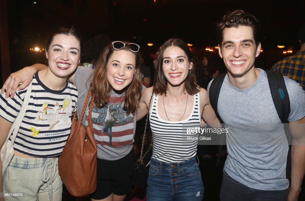 Barrett Wilbert Weed, Erika Henningsen, Lizzy Caplan and Kyle Selig pose backstage at the hit musical based on the film 'Mean Girls' on Broadway at The August Wilson Theater on May 26, 2018 in New York City.