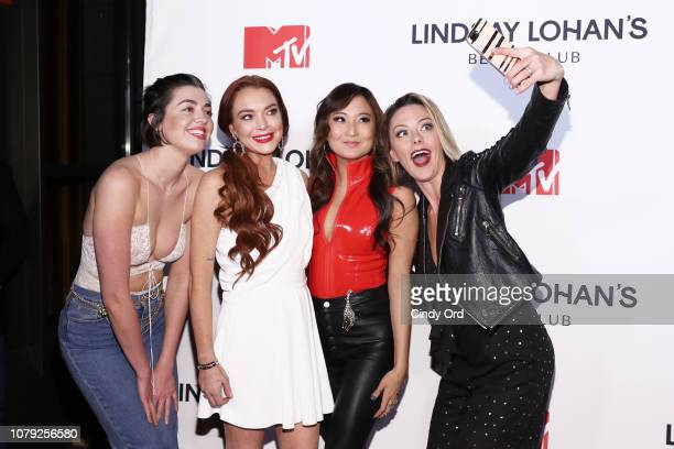 Barrett Wilbert Weed Lindsay Lohan Ashley Park and Kate Rockwell attend MTV's 'Lindsay Lohan's Beach Club' Premiere Party at Moxy Times Square on...