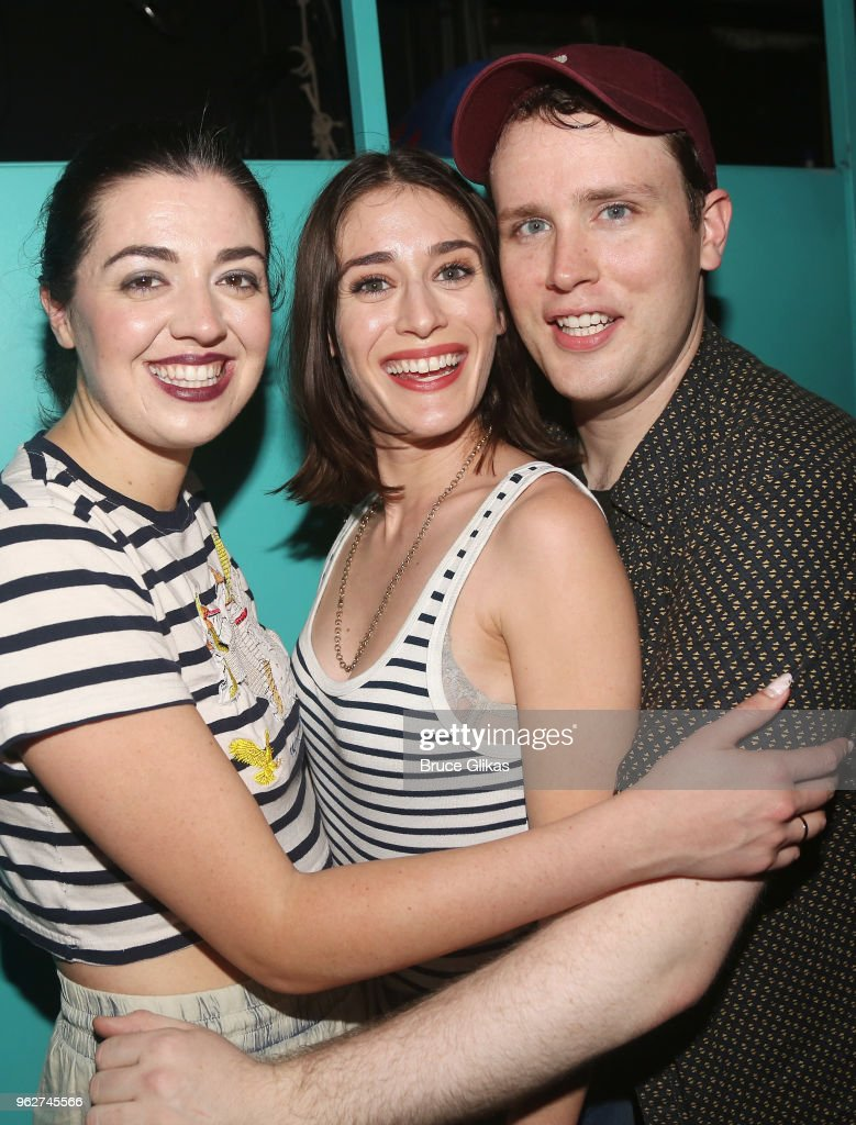 Barrett Wilbert Weed (who plays 'Janis' in the broadway musical 'Mean Girls'), Lizzy Caplan (who played 'Janis' in the 2004 film 'Mean Girls') and Grey Henson (who plays 'Damian Hubbard' in the broadway musical 'Mean Girls') pose backstage at the hit musical based on the film 'Mean Girls' on Broadway at The August Wilson Theater on May 26, 2018 in New York City.