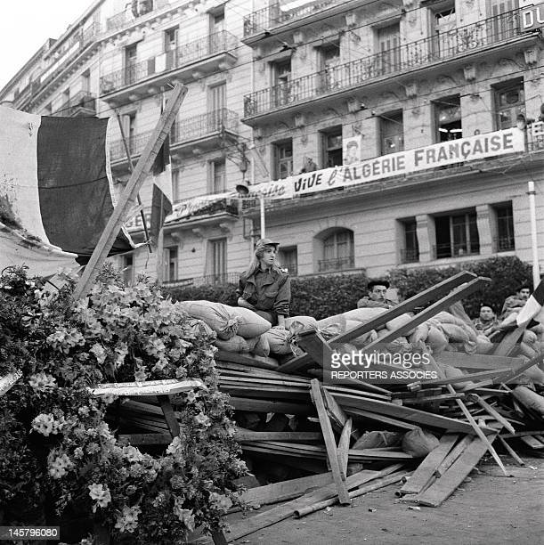 A barricade and banner with 'Long live French Algeria' written on it during January 1960in Algiers Algeria The insurrection started on January...