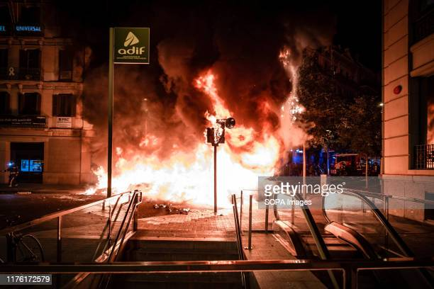 A barricade burns violently after the intervention of the police units during the demonstration Second day of independence protests after the...