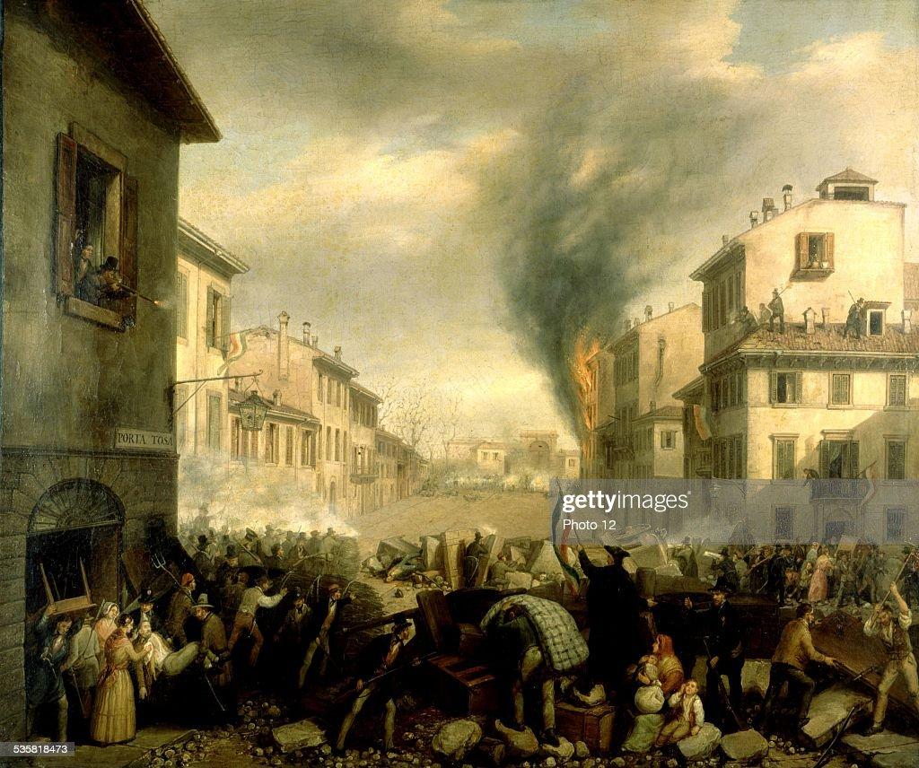 Barricade in Milan, Porta Tosa. Revolt against the Austrians : News Photo