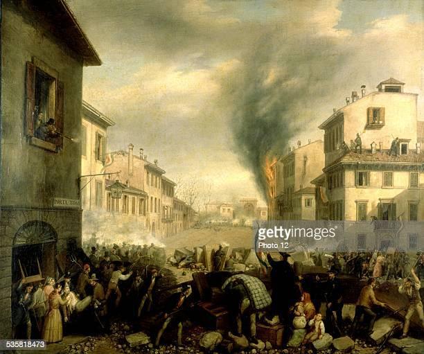 Barricade in Milan Porta Tosa Revolt against the Austrians Italy Milan Risorgimento museum