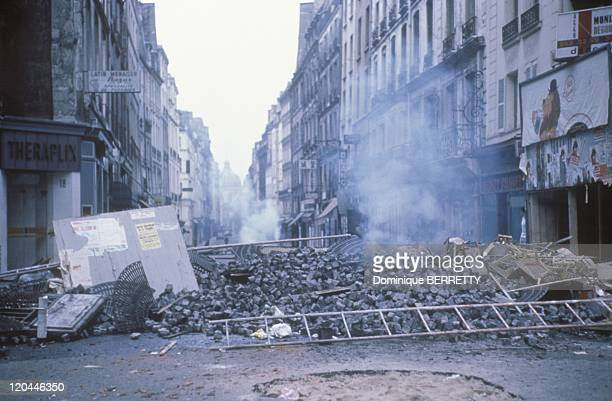 Barricade in the Latin Quarter in Paris France in May 1968
