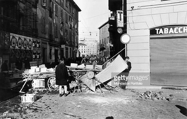 A barricade in Via Festa del Perdono close to the University of Milan during the clashes between the police and the protesters Milan 19th November...