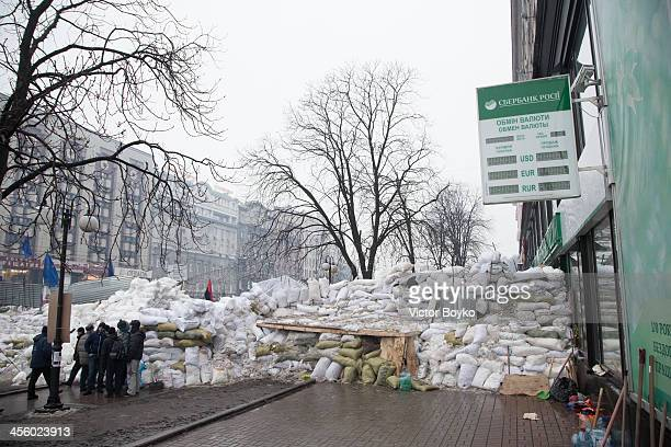A barricade is built on Khreshchatyk street near Maidan Square on December 12 2013 in Kiev Ukraine Thousands have been protesting against the...