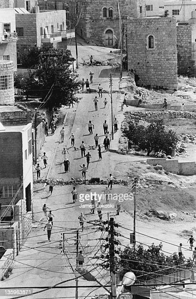 A barricade is set up in Beit Sahour West Bank prior to a demonstration during the IsraeliPalestinian conflict circa 1990