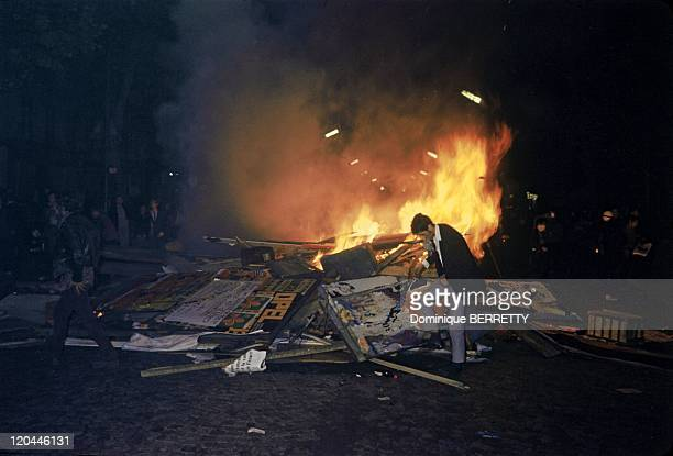 barricade On Fire In Paris France In May 1968