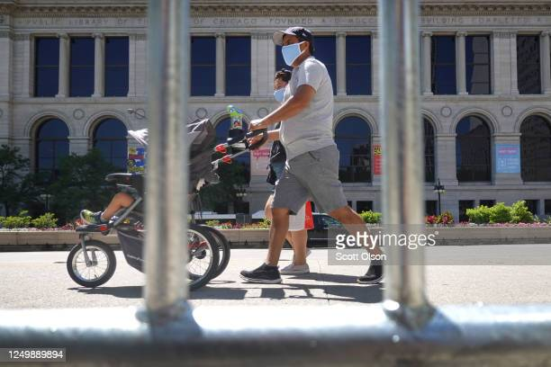 Barricade prevents people from entering Millennium Park from Michigan Avenue on June 15, 2020 in Chicago, Illinois. The park, which had been closed...