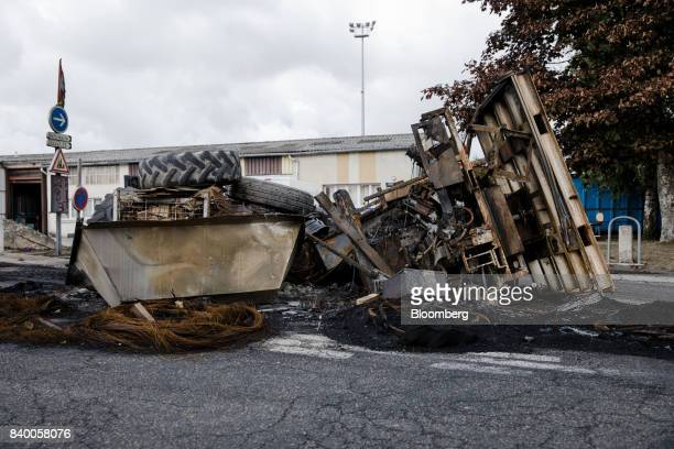 A barricade stands outside the GMS automobile parts factory in La Souterraine La Creuse region France on Monday July 24 2017 Even as President...