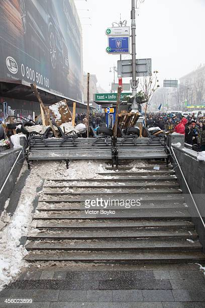 A barricaded is created at a pedestrian underpass on Khreshchatyk Street near Maidan Square on December 12 2013 in Kiev Ukraine Thousands have been...