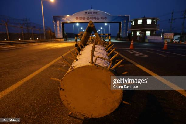 Barricades are seen on the road connecting South and North Korea at the Unification Bridge near the Demilitarized zone separating South and North...