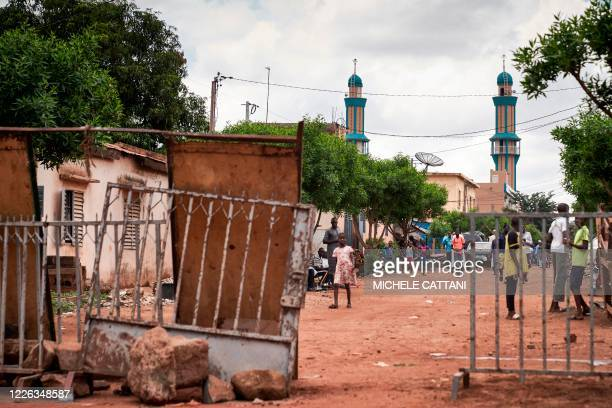 Barricades are set around the central Mosque where the Imam Mahmoud Dicko led the prayer for the victims of the violent clashes of the past two days...