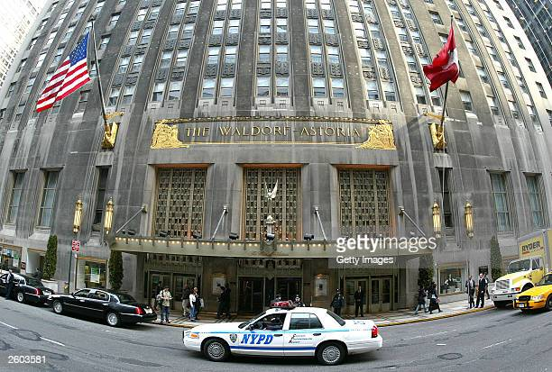 Barricades are set up at the WaldolfAstoria Hotel in preparation for protests during the fiveday World Economic Forum in New York City January 29 2002