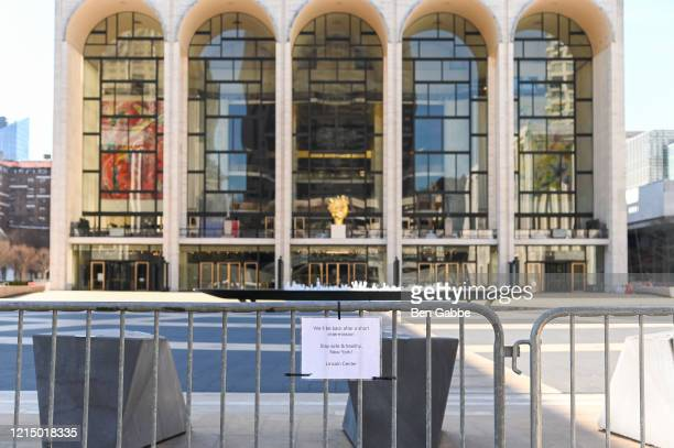 Barricades block people from entering Lincoln Center as the coronavirus continues to spread across the United States on March 26, 2020 in New York...