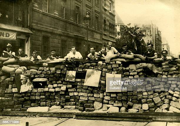Barricades in Rue Saint Jacques Paris France Possibly erected by Free French Forces during the Liberation of Paris 1944