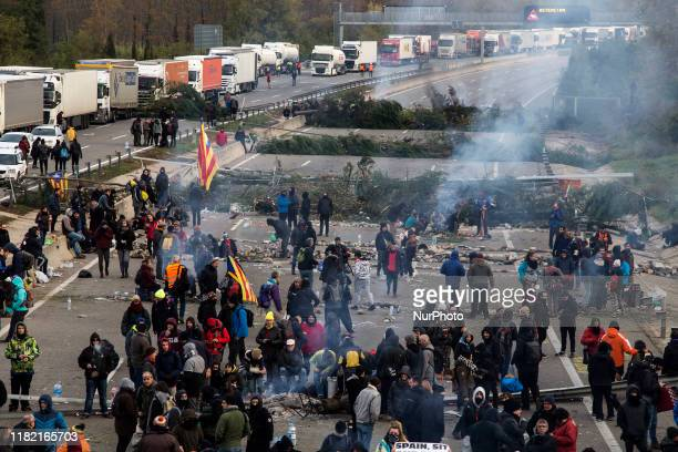 Barricades on the AP7 higway in Girona, Spain, on 13 November 2019. Traffic cut in both directions from 5pm yesterday until 10am this morning.After...