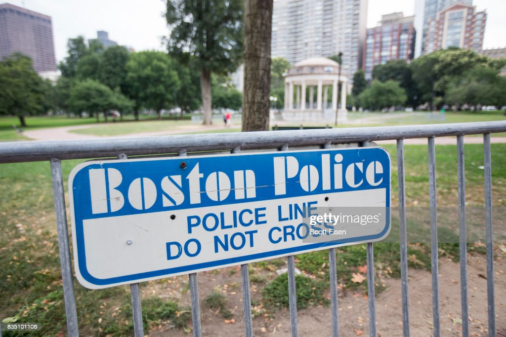 Barricades set up on the Boston Common where a 'Free Speech' rally is scheduled and a large rally against hate in solidarity with victims of Charlotestville will converge Saturday, on August 18, 2017 in Boston, Massachusetts.