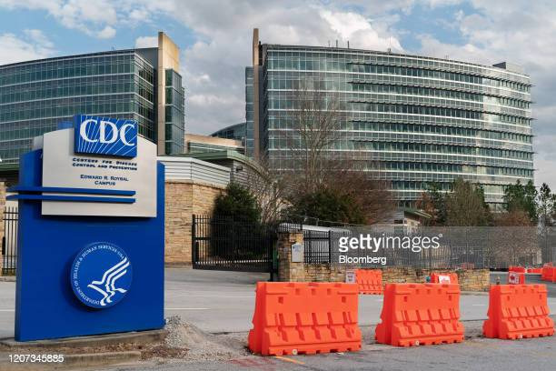 Barricades stand outside the Centers for Disease Control and Prevention headquarters in Atlanta, Georgia, U.S, on Saturday, March 14, 2020. As the...