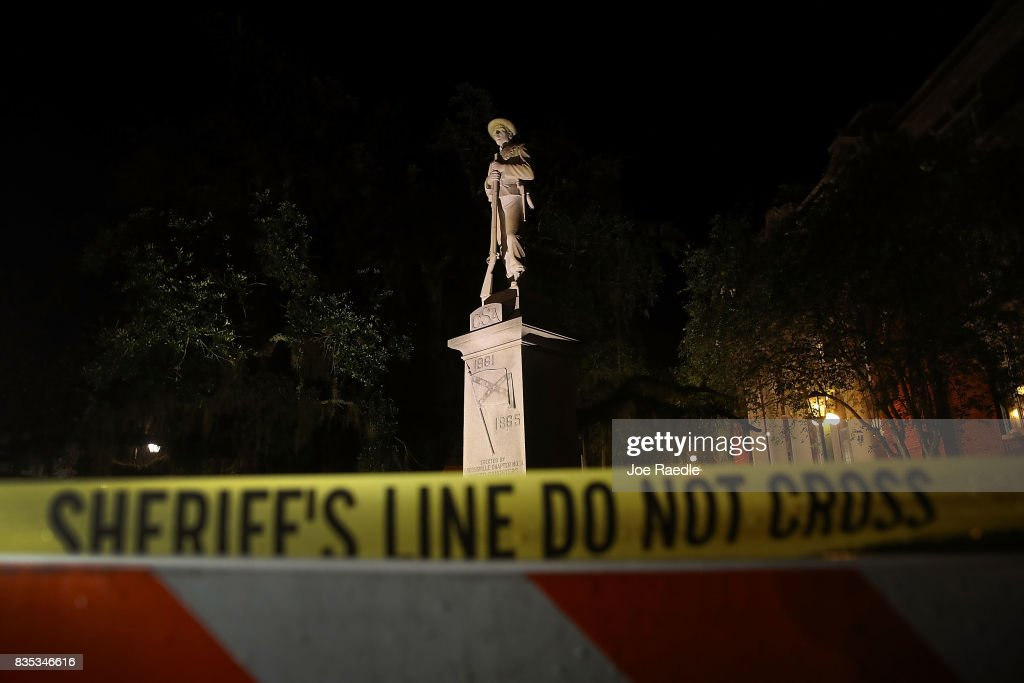 Barricades surround the Confederate monument in front of the Hernando County Courthouse to keep possible protesters away from the statue in the midst of a national controversy over whether Confederate symbols should be removed from public display on August 18, 2017 in Brooksville, Florida. The issue is at the heart of a debate about race in America and a recent protest in Charlottesville, VA turned deadly as white-supremacists clashed with counter-demonstrators over a confederate statue.
