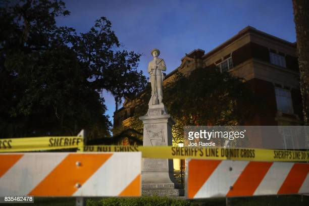 Barricades surround the Confederate monument in front of the Hernando County Courthouse to keep possible protesters away from the statue in the midst...
