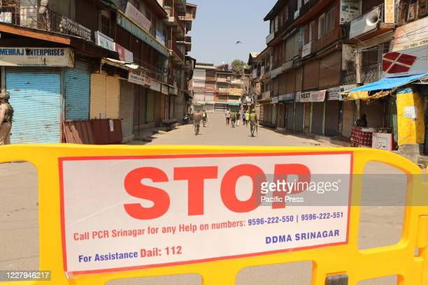 Barricades were seen on the roads of Srinagar city as restrictions were imposed by authorities on 5th August to prevent any protests on the 1st...