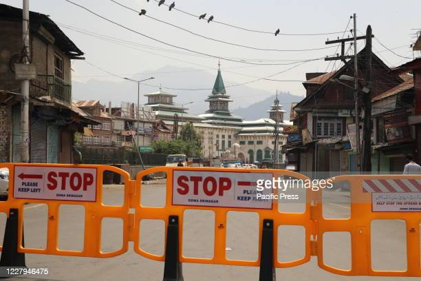 Barricades were seen on the roads of srinagar city as restrictions were imposed by authorities to prevent any protests.on the 1st anniversary of...