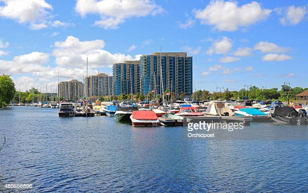 barrie lake simcoe marina and condo buildings - barrie stock pictures, royalty-free photos & images