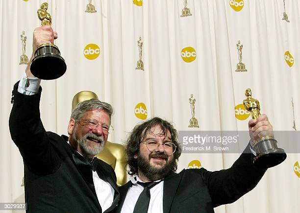 Barrie M Osborne and Peter Jackson winners of Best Picture for 'The Lord of the Rings Return of the King' pose backstage at the 76th Annual Academy...