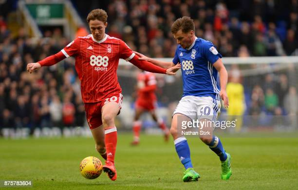 Barrie McKay of Nottingham Forest and Stephen Gleeson of Birmingham City in action during the Sky Bet Championship match between Birmingham City and...