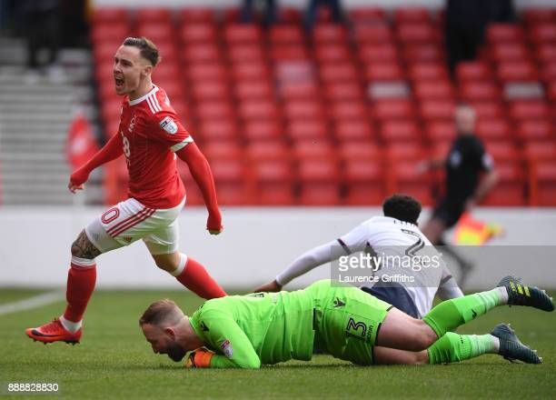 Barrie McKay of Nottingham Forest celebrates his goal in front of Ben Alnwick and Mark Little of Bolton Wanderers the opening goal during the Sky Bet...