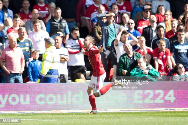 Barrie McKay of Nottingham Forest celebrates scoring the opening goal of the game during the Sky Bet Championship match between Nottingham Forest and...
