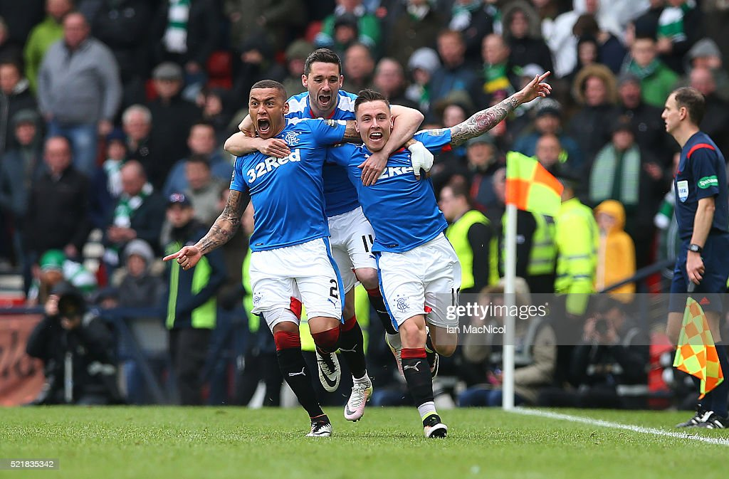 Barrie McKay (R) of Rangers celebrates with his team-mates after he scoring their second goal during the Scottish Cup Semi Final between Rangers and Celtic at Hampden Park on April 17, 2016 in Glasgow, Scotland.