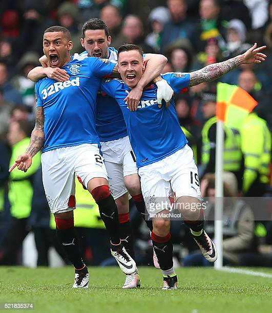 Barrie McKay of Rangers celebrates with his teammates after he scoring their second goal during the Scottish Cup Semi Final between Rangers and...