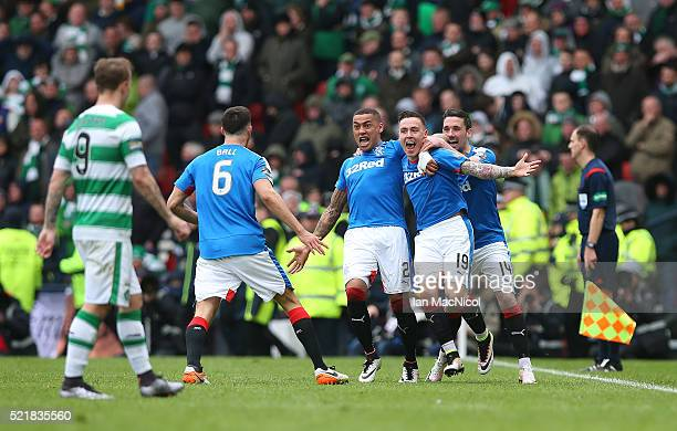 Barrie McKay of Rangers celebrates with his teammates after scoring their second goal during the Scottish Cup Semi Final between Rangers and Celtic...