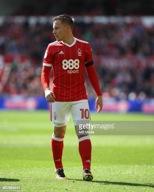 Barrie McKay weighs up his options before a freekick during the first half of the EFL fixture between Nottingham Forest and Middlesborough at The...