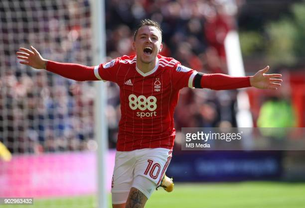 Barrie McKay wheels away in excitment after scoring during the first half of the EFL fixture between Nottingham Forest and Middlesborough at The City...