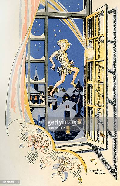 J M Barrie s Peter Pan The window flew open James Matthew Barrie Scottish novelist and playwright 9 May 1860 – 19 June 1937 Illustration by Gwynedd M...