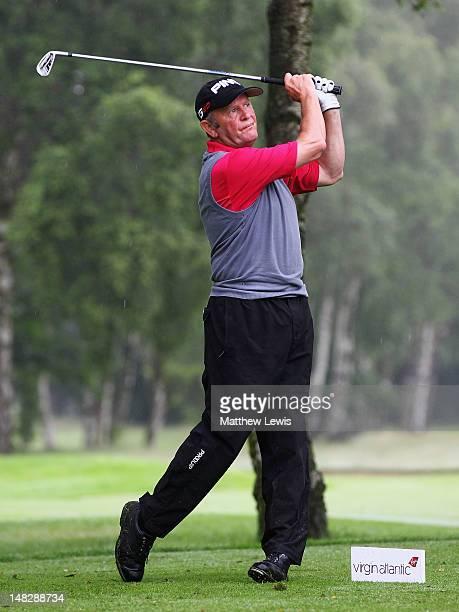 Barrie Stevens of Beau Desert Golf Club tees off on the 5th tee during the Virgin Atlantic PGA National ProAm Championship Midland Regional Final at...