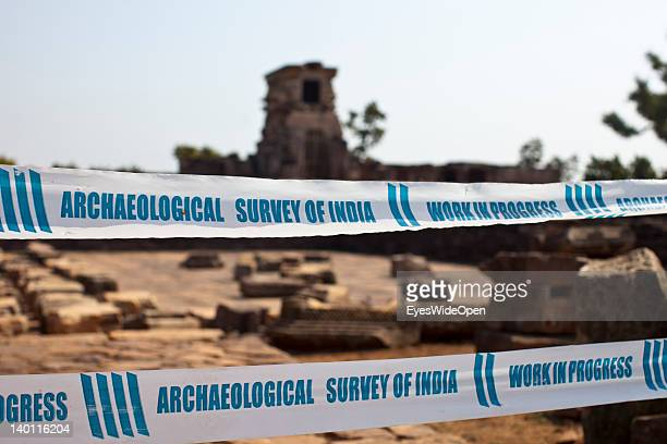 Barrier from the archaeological survey of india at the Buddhist temples and stupas on February 1 2012 in Sanchi Madhya Pradesh India Sanchi is a...