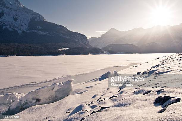 barrier lake in winter - mount baldy stock photos and pictures