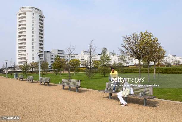 Barrier Point Apartments looking over Thames Barrier Park East London UK